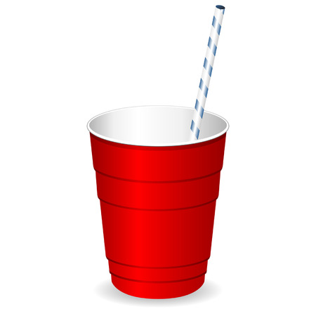 Red plastic party cup with straw over white