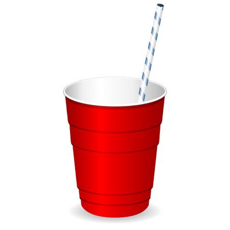 plastic: Rode partij plastic beker met stro over white