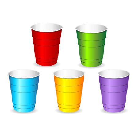plastic: Colorful plastic party cup set over white Illustration