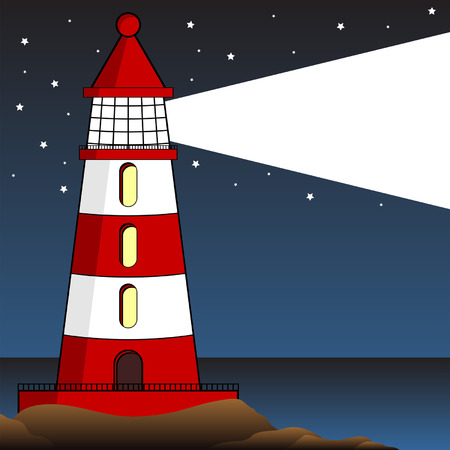 Classic lighthouse over a starry night sky Vector