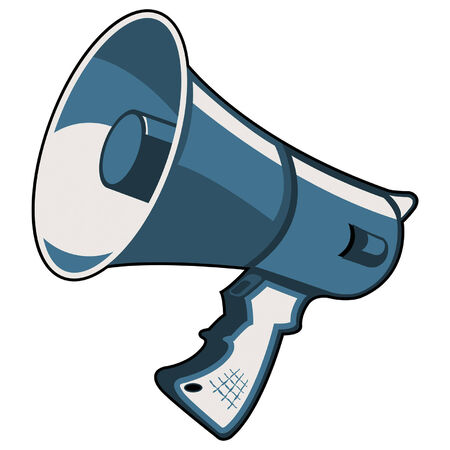 hombre megafono: Meg�fono azul aislado sobre fondo cuadrado blanco