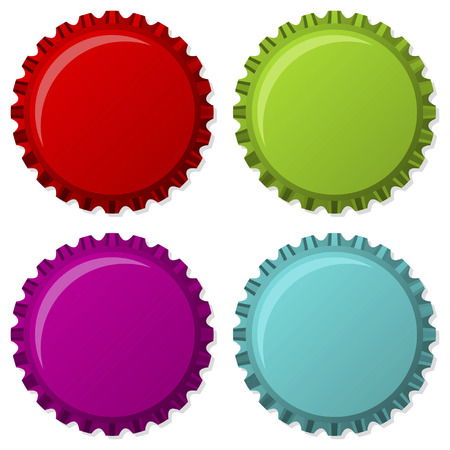 bottle cap: Colorized bottle caps isolated over white background