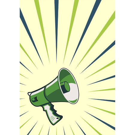 Megaphone over striped background Vector