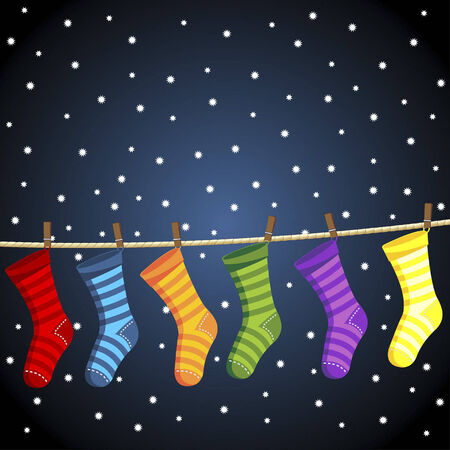 Christmas socks hanged on clothes line over a starry sky background Vector