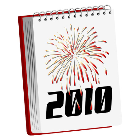 New Year spiral notebook with fireworks isolated over white Stock Vector - 5665567