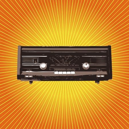 Vintage radio over orange starry square background Vector