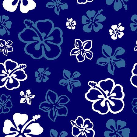 hawaiana: Cuadrado patr�n de flores sin color en blanco y azul