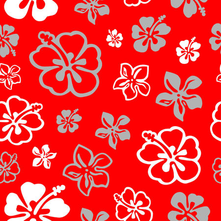 Squared seamless flower pattern colored in white and red Vector