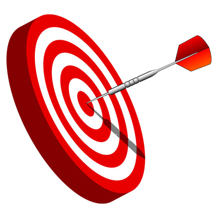 bullseye: DART Dartscheibe Center gegen�ber dem wei�en Hintergrund