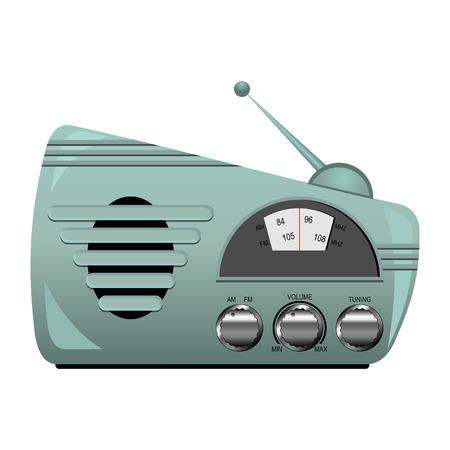 Light green retro radio set isolated over white Vector