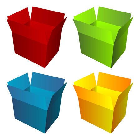 Opened cardboard box with different colors isolated over white Stock Vector - 5851614