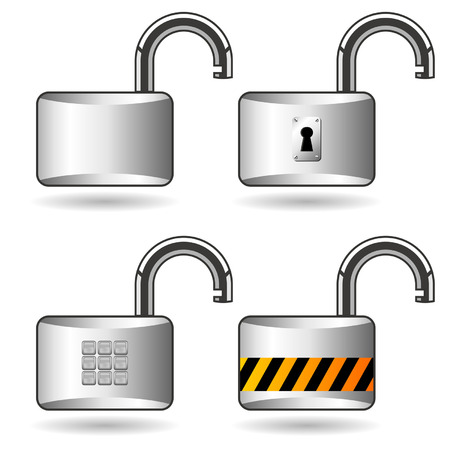 Different opened padlocks over white square background Stock Vector - 5903590