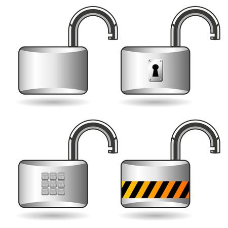 unlocked: Different opened padlocks over white square background