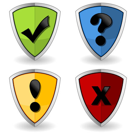 exclamation icon: Shields with check marks over white background