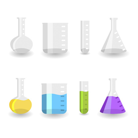 chemistry lab: Different chemistry beakers empty and full with colored liquids