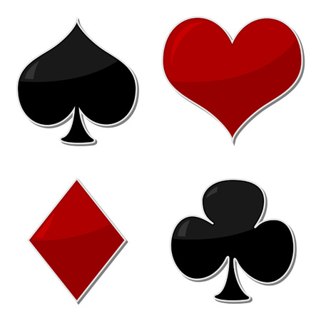 Playing cards symbols isolated over white background