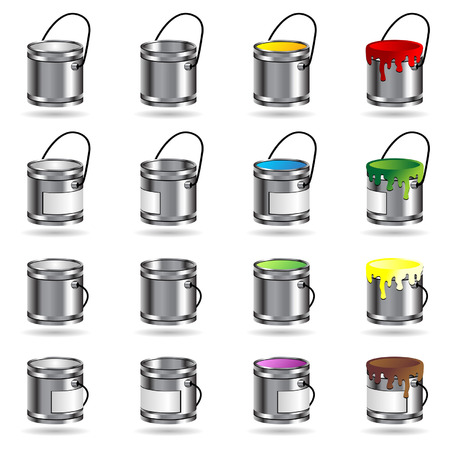 Different paint buckets isolated over white background Stock Vector - 5932829