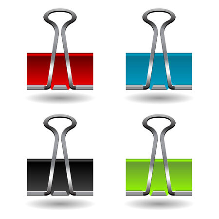 useful: Colored paper clips isolated over white background