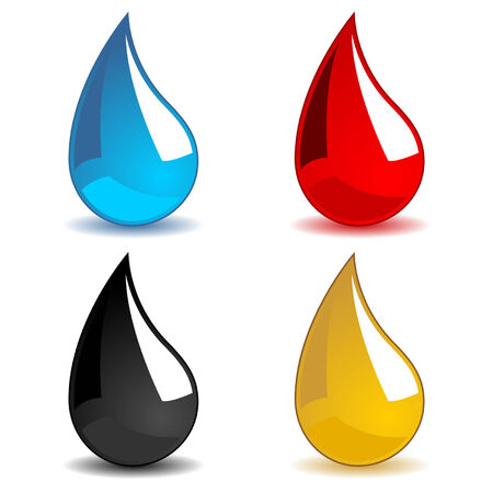 toxic water: Different color drops isolated over white background