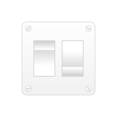 Dual light switch isolated over white square background