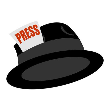 reportero: Periodista vintage sombrero con tarjeta de prensa sobre blanco