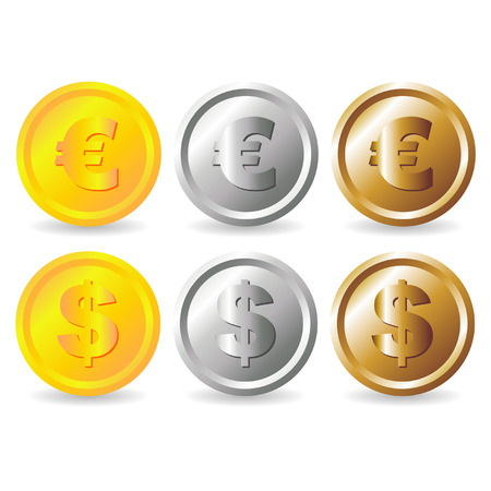 Fake euro and dollar gold silver and bronze coins Stock Vector - 6026311