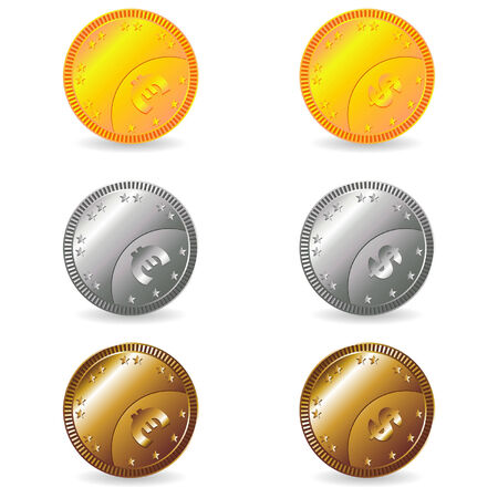Fake euro and dollar gold silver and bronze coins set Vector
