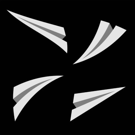 paper flying: Paper planes flying over black square background