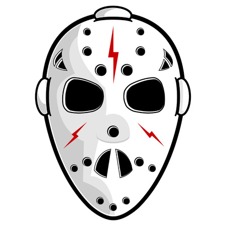 Hockey mask isolated over white square background