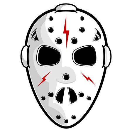 frightful: Hockey mask isolated over white square background