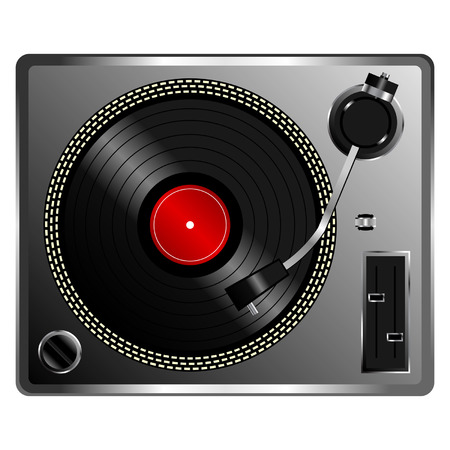rotations: Vinyl record deck isolated over white background Illustration