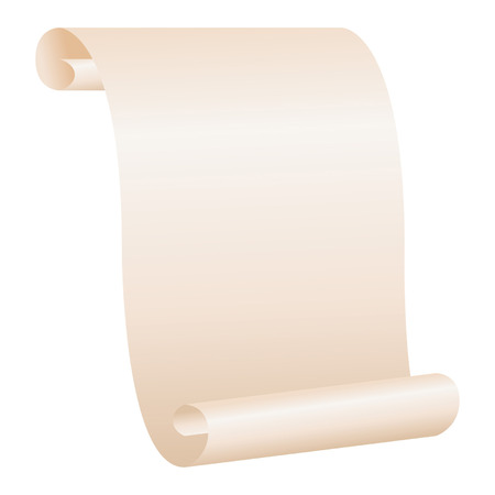 rolled: Blank paper scroll isolated over white background