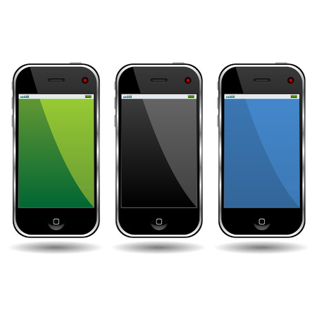 Modern cell phones isolated over white background