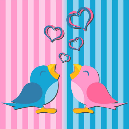 Birds in love over pink and blue background Stock Vector - 6132621