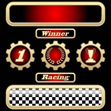 conquistando: Deporte diferentes trofeos aislados sobre fondo negro