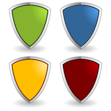 Empty colorful shields isolated over white background