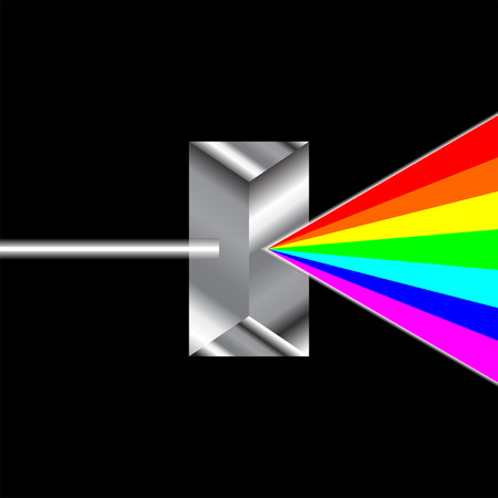 Prism refracting ray of light passing through Illustration