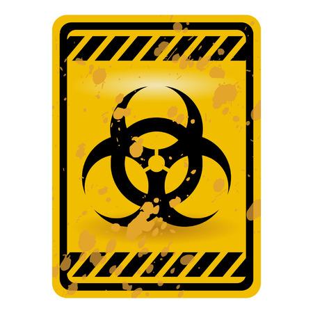 riesgo biologico: Signo de advertencia de riesgo de grunge aislado sobre blanco