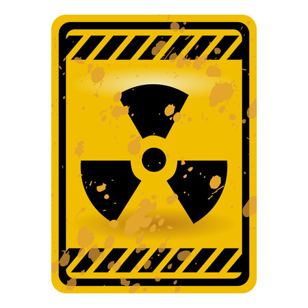 radiactividad: Signo de advertencia de radiactividad de grunge aislado sobre blanco Vectores