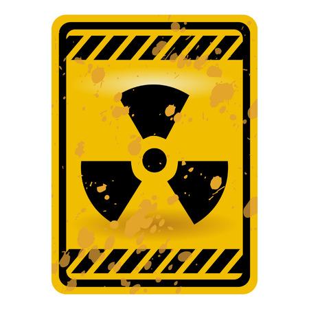 infectious: Signo de advertencia de radiactividad de grunge aislado sobre blanco Vectores