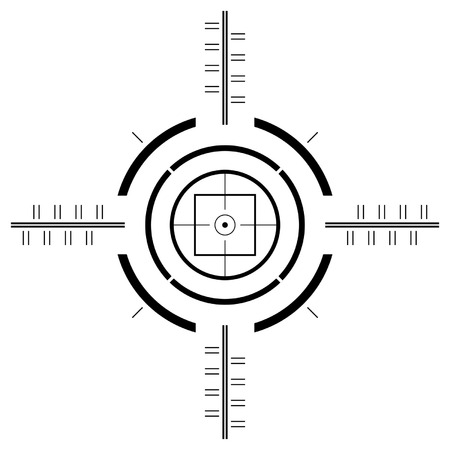 Gun sight template over square white background