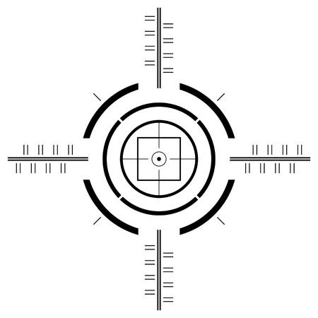 Gun sight template over square white background