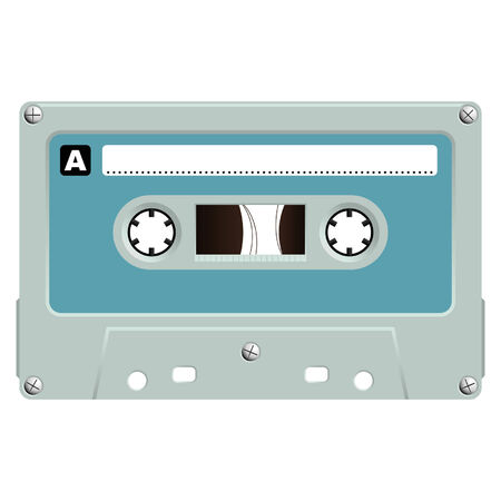 Audio cassette isolated over white background Vector