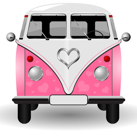 60's: Van decorated with valentines theme over white