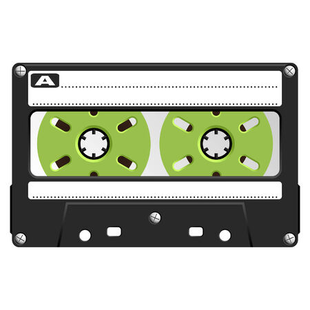 Audio Cassette with black and transparent box over white Vector