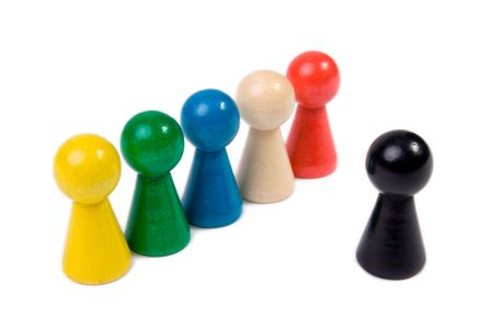 tokens: Game tokens representing a team with one leader Stock Photo