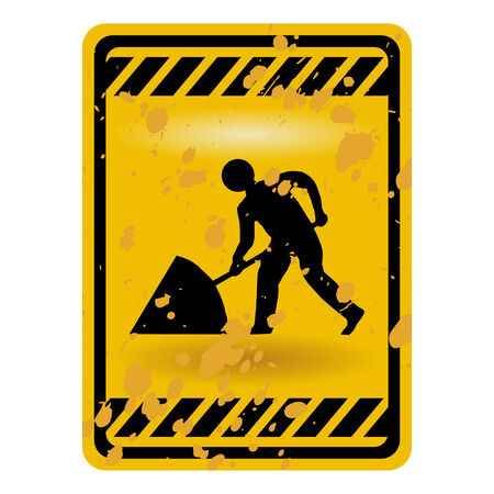 Grunge men at work warning sign isolated over white Stock Vector - 6421671