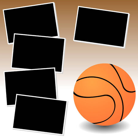 Basketball sport theme with photo template paper Vector