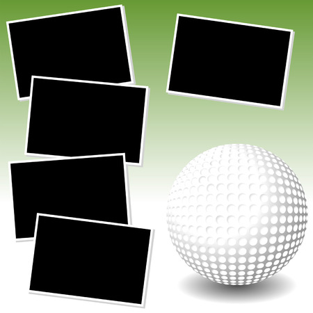 Golf sport theme with photo template paper Vector