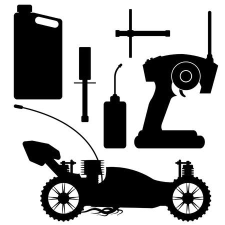 RC buggy silhouet met accessoires over Wit Vector Illustratie
